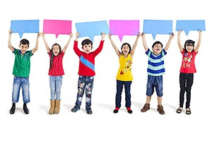 Group Kids Showing Color board