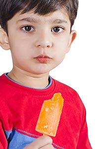 Child Boy Eating Ice Cream