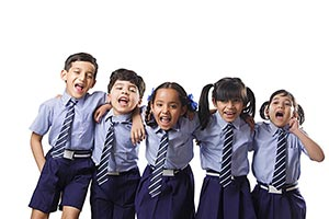 Group School Children Shouting