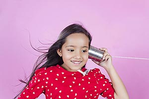 Kid Girl Listening Tin Can phone