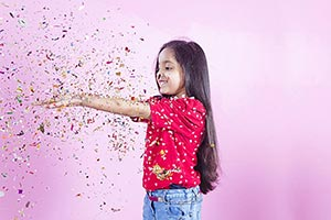 Child Girl Falling Confetti