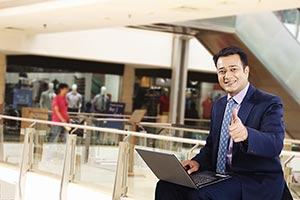 Businessman Mall Laptop Working