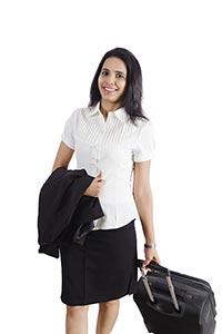 Indian Businesswoman Travel Suitcase