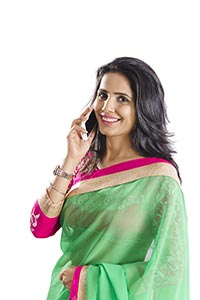Indian Woman Mobile Talking