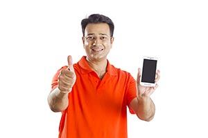 Man Phone Showing Thumbsup