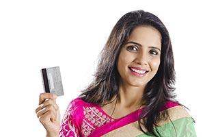 Woman Debit Card Showing