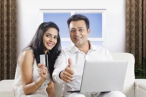 Couple Shopping Laptop Credit card