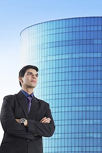 Businessman Standing Office Building