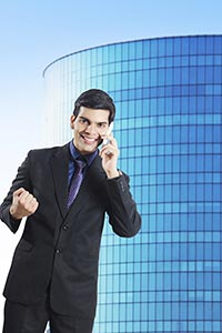 Successful Victory Businessman Office Talking