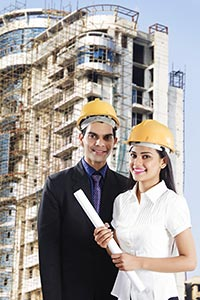 Man Woman Architects Construction Site