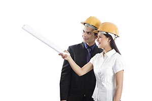 Architects Talking Pointing Construction Site