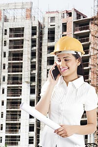 Woman Architect Talking Phone