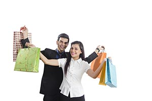 Business Couple Shopping Bag Showing