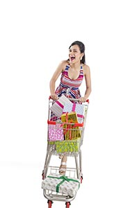 Woman Shopping Trolley Gifts