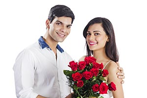 Couple Giving Flowers Valentines Day