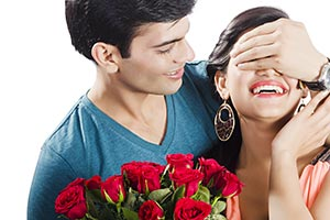 Couple Proposing Flowers Valentines Day