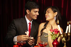 Couple Marriage Proposal Restaurant