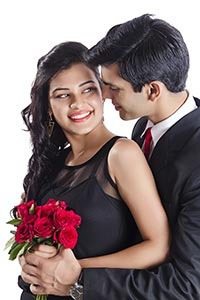 Indian Couple Romance Giving Flowers