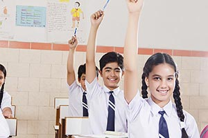 School Students Classroom  Hand Raised