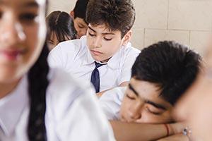 School Student Falling Asleep Classroom
