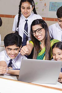 Teacher Students Laptop Thumbsup
