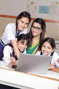 Teacher Laptop Explaining Students