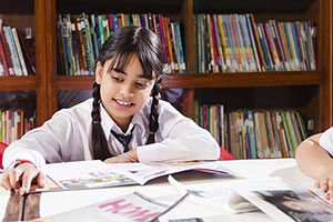 Girl Student Studying Library
