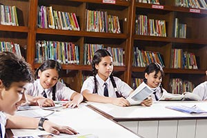 Group Students Studying Library