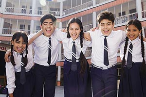 School Classmate Courtyard Standing Cheering