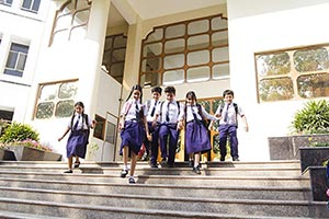 Group School Students Running