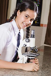 Girl Microscope Research Lab