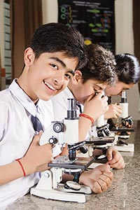 School Students Microscope Research