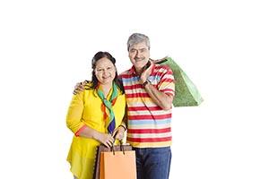 Senior Couple Shopping Bags