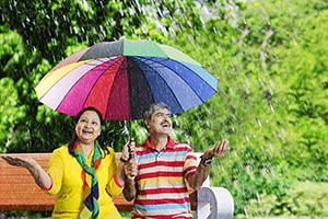 Senior Couple Umbrella Rain