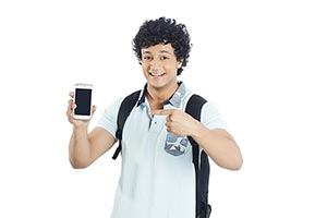 College Boy Showing Cellphone Pointing