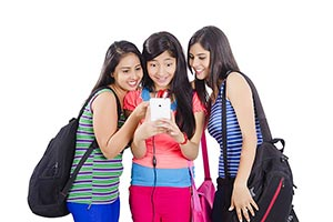 College Girls Surprised Text Message Phone