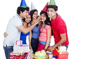 Group Teenager Friends Celebrating Birthday