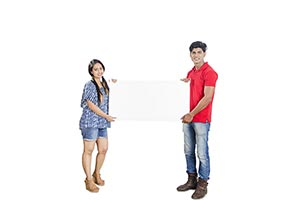 Young Couple Holding White Blank Board
