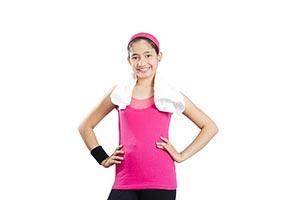 Fitness Teenage Woman Arms akimbo