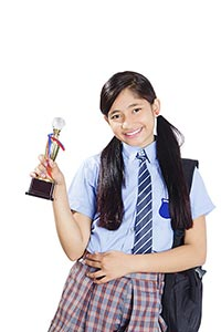 Indian School Girl Student Winning Trophy