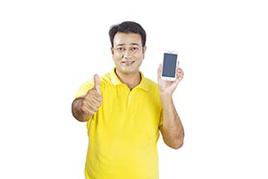 Man Showing New Cellphone Thumbsup