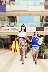 Mother Daughter Shopping Bags Walking Mall