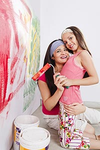 Mother Daughter Painting Wall Paint Roller Home Im