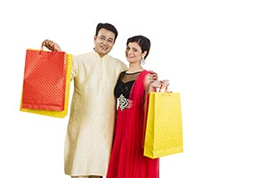Indian Couple Carrying Shopping Bags Diwali