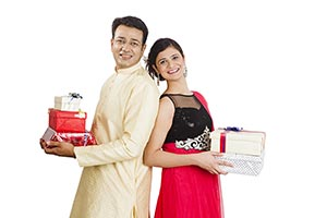 Indian Couple Gift Boxes Diwali Festival