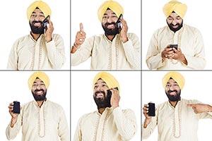 Montage Photo Punjabi Man Mobile phone Communicati