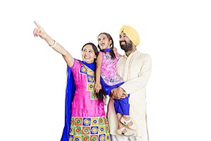 Indian Sikh Parents Daughter Father Pointing