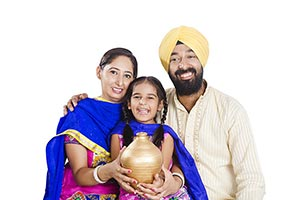 Punjabi Family Piggybank Money Financial Planning