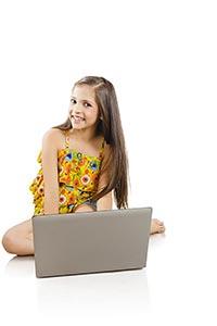 Student Little School Girl Laptop Education