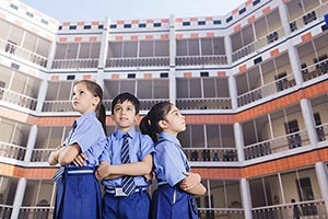 Children Students Determination Standng School Bui